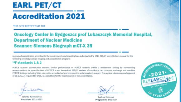 Bydgoskie Centrum Onkologii z pierwszym w Polsce prestiżowym certyfikatem EARL PET/CT