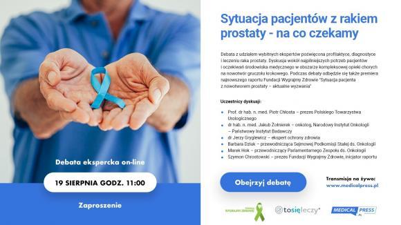 Sytuacja pacjentów z nowotworem prostaty - na co czekamy - debata ekspercka 19 sierpnia 2021