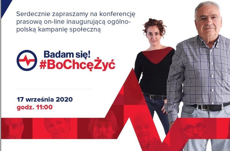 Inauguracja ogólnopolskiej kampanii społecznej BADAM SIĘ - BO CHCĘ ŻYĆ! - zaproszenie