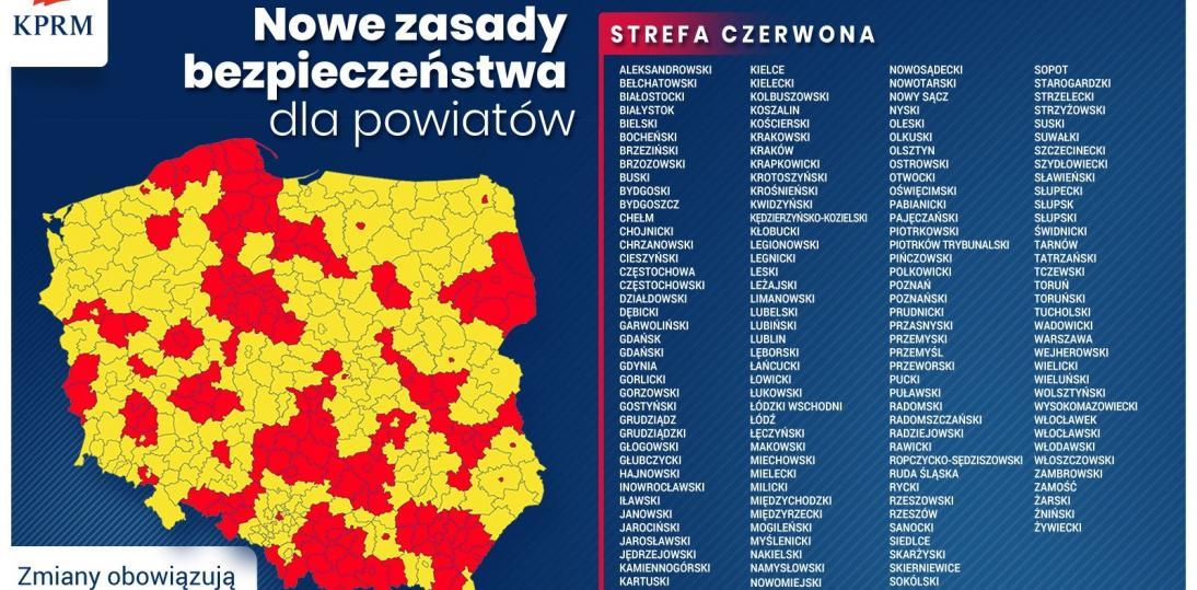 Lista czerwonych stref objęła 152 powiaty - obowiązuje od 17.10.20